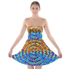 Background Color Game Pattern Strapless Bra Top Dress
