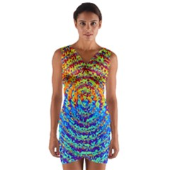 Background Color Game Pattern Wrap Front Bodycon Dress