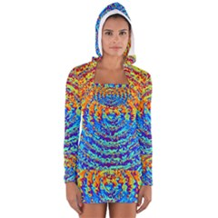 Background Color Game Pattern Women s Long Sleeve Hooded T Shirt