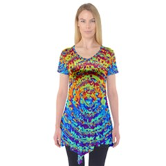 Background Color Game Pattern Short Sleeve Tunic