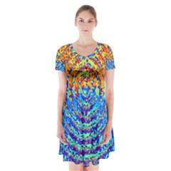 Background Color Game Pattern Short Sleeve V-neck Flare Dress
