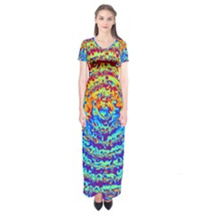 Background Color Game Pattern Short Sleeve Maxi Dress