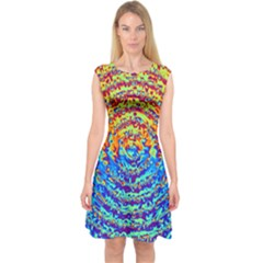 Background Color Game Pattern Capsleeve Midi Dress