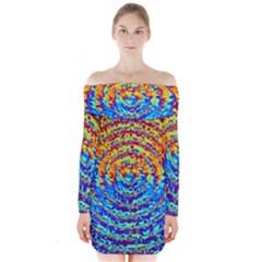 Background Color Game Pattern Long Sleeve Off Shoulder Dress
