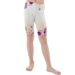 Background Floral Background Kids  Mid Length Swim Shorts