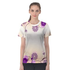 Background Floral Background Women s Sport Mesh Tee