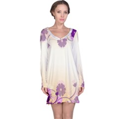 Background Floral Background Long Sleeve Nightdress