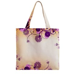 Background Floral Background Zipper Grocery Tote Bag