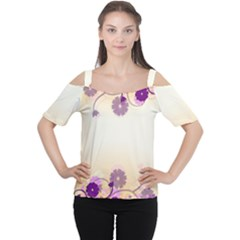 Background Floral Background Women s Cutout Shoulder Tee