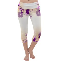 Background Floral Background Capri Yoga Leggings