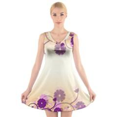 Background Floral Background V Neck Sleeveless Skater Dress