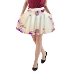 Background Floral Background A Line Pocket Skirt