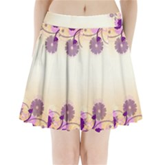 Background Floral Background Pleated Mini Skirt