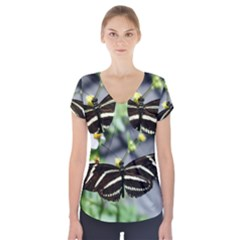 Butterfly #22 Short Sleeve Front Detail Top