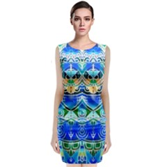Blue Multicolor Abstract Geometric Design Classic Sleeveless Midi Dress