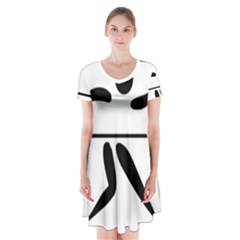 Badminton Pictogram Short Sleeve V-neck Flare Dress