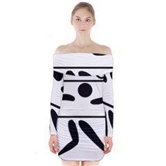 Badminton Pictogram Long Sleeve Off Shoulder Dress