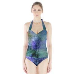 Background Texture Structure Halter Swimsuit