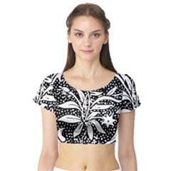 Decoration Pattern Design Flower Short Sleeve Crop Top (tight Fit)
