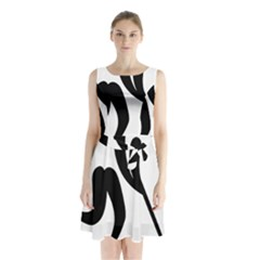 Bandy Pictogram Sleeveless Chiffon Waist Tie Dress