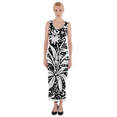 Decoration Pattern Design Flower Fitted Maxi Dress