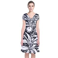 Decoration Pattern Design Flower Short Sleeve Front Wrap Dress