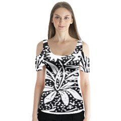 Decoration Pattern Design Flower Butterfly Sleeve Cutout Tee