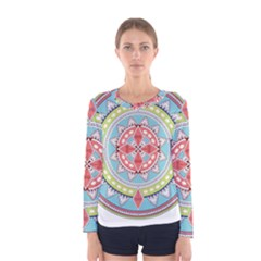 Drawing Mandala Art Women s Long Sleeve Tee