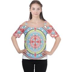 Drawing Mandala Art Women s Cutout Shoulder Tee