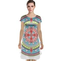 Drawing Mandala Art Cap Sleeve Nightdress