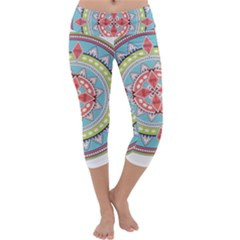 Drawing Mandala Art Capri Yoga Leggings