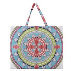 Drawing Mandala Art Zipper Large Tote Bag