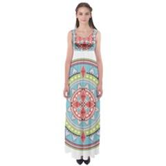 Drawing Mandala Art Empire Waist Maxi Dress
