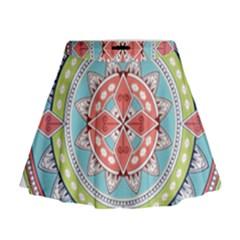 Drawing Mandala Art Mini Flare Skirt
