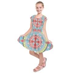 Drawing Mandala Art Kids  Short Sleeve Dress