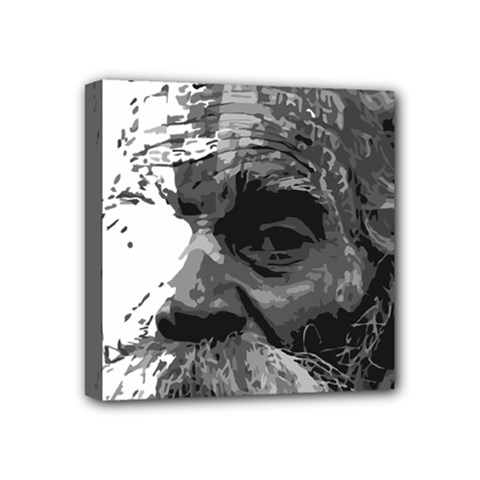 Grandfather Old Man Brush Design Mini Canvas 4  x 4