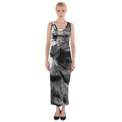 Grandfather Old Man Brush Design Fitted Maxi Dress