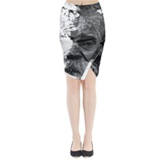 Grandfather Old Man Brush Design Midi Wrap Pencil Skirt