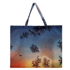Hardest Frost Winter Cold Frozen Zipper Large Tote Bag