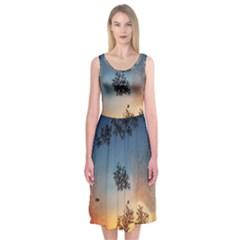 Hardest Frost Winter Cold Frozen Midi Sleeveless Dress