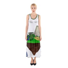 Low Poly 3d Render Polygon Sleeveless Maxi Dress