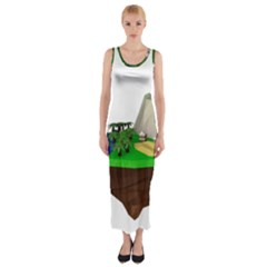 Low Poly 3d Render Polygon Fitted Maxi Dress