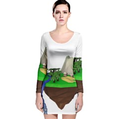 Low Poly 3d Render Polygon Long Sleeve Velvet Bodycon Dress