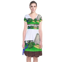 Low Poly 3d Render Polygon Short Sleeve Front Wrap Dress