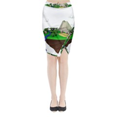 Low Poly 3d Render Polygon Midi Wrap Pencil Skirt