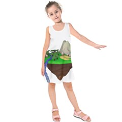 Low Poly 3d Render Polygon Kids  Sleeveless Dress