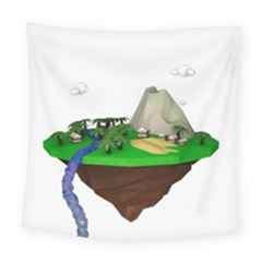 Low Poly 3d Render Polygon Square Tapestry (large)