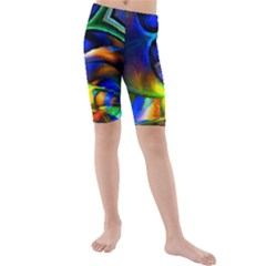 Light Texture Abstract Background Kids  Mid Length Swim Shorts