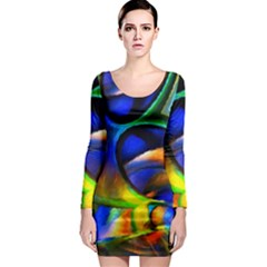 Light Texture Abstract Background Long Sleeve Bodycon Dress