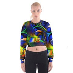 Light Texture Abstract Background Women s Cropped Sweatshirt